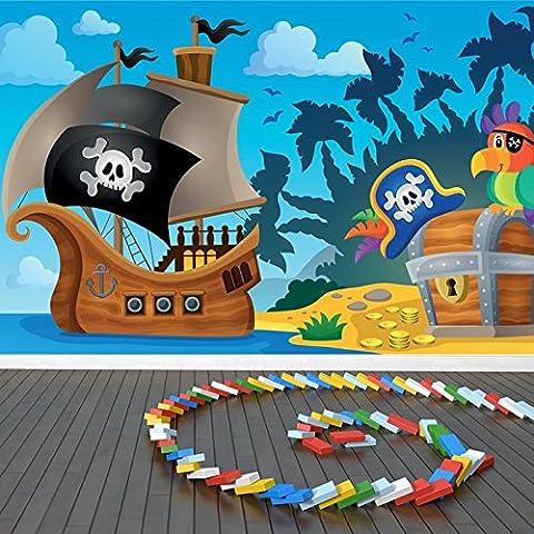 Nave, del loro y cofre del tesoro del pirata de la historieta Imagen de pared niños Photo Wallpaper disponible en 8 tamaños Gigantesco Digital