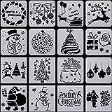 Outus 16 Stück Weihnachten Schablonen Vorlage Schneemann Weihnachtsbaum Rentier Kunststoff Schablonen Vorlage für Fenster Glastür Karosserie
