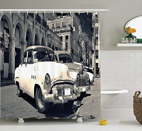 JIEKEIO Old Car Decorations Shower Curtain Set, Panoramic View of Shabby Old Havana Street with Vintage Classic American Cars, Bathroom Accessories, 60 * 72inchs Long, Grey Beige