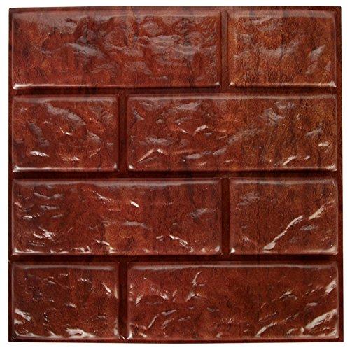 ierte Schaumstoff Selbstklebend Braun Abnehmbarer Faux Brick Wall Decor Tile Blatt   6Stück   30,5cm Kariert ()