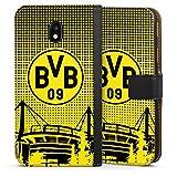 DeinDesign Tasche Leder Flip Case Hülle kompatibel mit Samsung Galaxy J3 2017 BVB Muster Borussia Dortmund