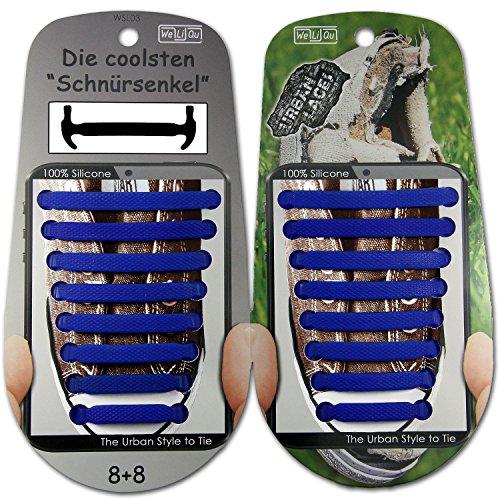 WeLiQu URBAN LACES (Kobaltblau) | Elastische Schnürsenkel ohne Binden aus Silikon, breit u flexibel, Gummi-Schnellverschluss, Kinder u Erwachsene