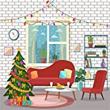 YongFoto 1,5x1,5m Foto Hintergrund Weihnachten Baum Glänzende Lichter Red Sofa Stuhl Bücherregal Geschenke Box Bär Ziegelmauer Innere Fotografie Hintergrund Photo Portrait Party Kinder Fotostudio