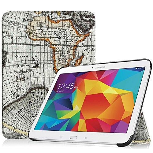 Fintie Samsung Galaxy Tab 4 10.1 Hülle Case - Ultra Schlank Superleicht Ständer Smart Shell Cover Schutzhülle Etui Tasche mit Auto Schlaf / Wach Funktion für Samsung Galaxy Tab 4 10.1 SM-T530 SM-T535 (nicht geeignet für Samsung Galaxy Tab 3 10.1), Landkarte Design