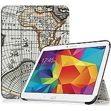 Funda Samsung Tab 4 10.1 – Fintie Súper Thin Smart Funda Case con Stand Función y Imán Incorporado para el Sueño/Estela para Samsung Galaxy Tab 4 10 pulgadas (Blanco Mapa)