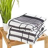 Duschtuch Badehandtuch Baumwolltuch ERDA 14 | 100% Baumwolle | Anthrazit-Schwarz-Weiß | 70x140 cm
