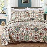 Beddingleer Tagesdecke Patchwork Baumwolle Tagesdecken Bettüberwurf Gesteppt 230 x 250 cm 3-teilig für Doppelbett Sofa im Marokko Stil