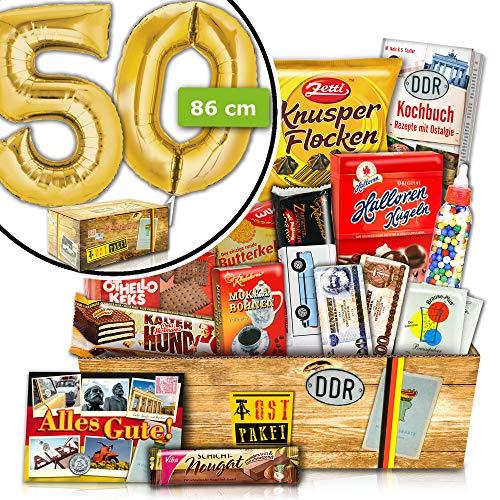 Geschenke zum 50. Geburtstag - INKL. FOLIENBALLON 50 Gold - Süße DDR Box