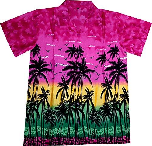 """Hawaiihemd / Hawaii Hemd """"Hawaiian Paradise (pink)"""" / Größe S – 6XL / mit Brusttasche / rosa / 100% Polyester / Strand / Sonne / Sommer / Beach / Urlaub / Party"""
