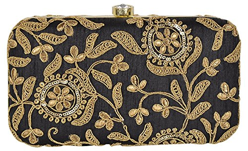 Tooba Hand Crafted Designer Box Clutch with Zari Embroidery Work...