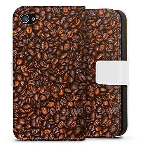 Apple iPhone X Silikon Hülle Case Schutzhülle Kaffee Bohnen Coffee Sideflip Tasche weiß