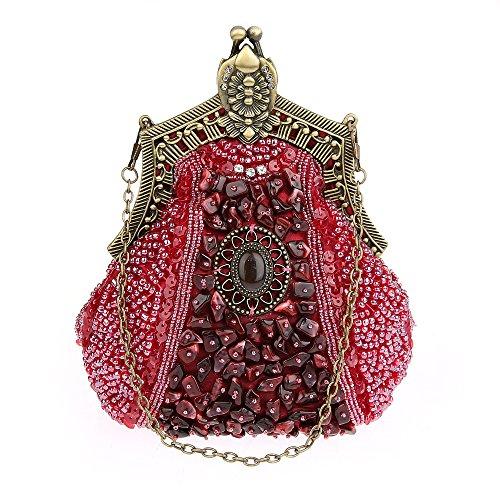 KAXIDY Damen Samen-Perlen Abendtasche Hochzeit Bead-hand-knit Abschlussball Party-Abend Handtasche (Rot) -