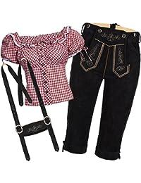 Trachtenset Damen Trachten Lederhose schwarz mit Trachtenbluse in verschiedenen Farben
