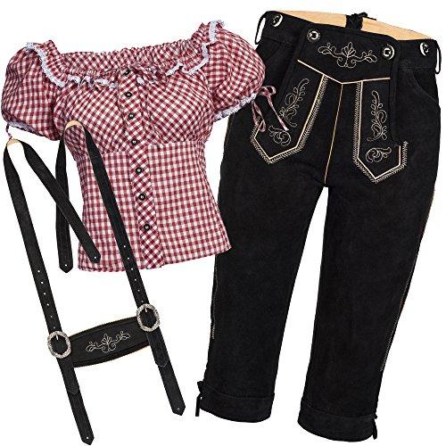 Trachtenset Damen Trachten Lederhose schwarz mit Trachtenbluse rot weiß kariert 46-46