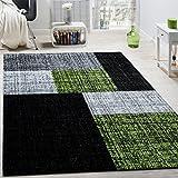 Paco Home Designer Teppich Modern Kurzflor Karos Und Rechtecke Meliert Grau Schwarz Grün, Grösse:80x150 cm