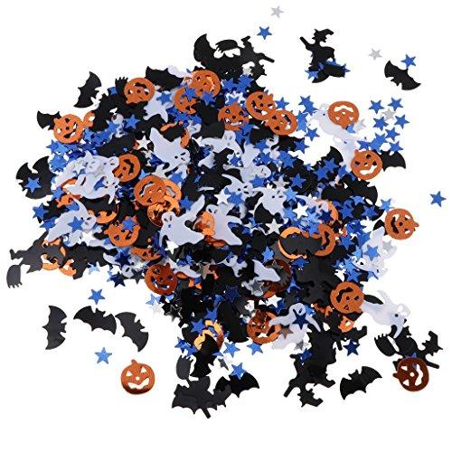 Homyl 15g Halloween Konfetti Tischkonfetti Streudeko mit Kürbis Spinnen und Stern Muster, aus Plastik