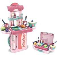 Cable World® 2 in 1 Portable Cooking Kitchen Play Set Pretend Play Food Party Role Toy for Boys Girls - Pink