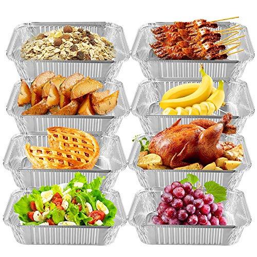 Nuoyi 10 Einweg-Aluminiumfolie-Behälter-Behälter Grill-Aluminiumfolie-Behälter Ideal für gebackene Nahrungsmittellagerung Mitnehmer 4750Ml Große Kapazität