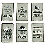 Tolle Kühlschrank-Magnete im 6er Set Sprüche witzig lustig Pinnwand-Magnet Holz Magnet-Set 8,5 x 5,5 cm. Magnete für Kühlschrank, Pinnwand oder Whiteboard