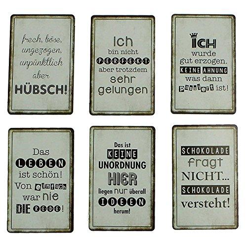 K&G MACOSA GW10015494 Kühlschrank-Magnete 6 STK. Sprüche lustig Holz Pinnwand-Magnet Deko für Kühlschrank, Pinnwand oder Whiteboard Geschenkidee