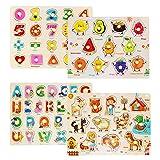 FancyWhoop 4 Pezzi Puzzle di Legno Alfabeto/Numero/Animale/Frutta Puzzle di Legno Giocattolo Educativo in Legno per Bambini