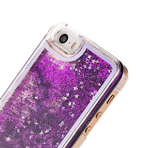 Copertura Dura per Apple iPhone SE / 5 / 5S, HB-Int Hard Case Cover per Apple iPhone SE / 5 / 5S in 3D, Scorre Fluttuante Liquido Lusso di Bling di Scintillio Sparkle Shell Custodia Creative Design Ca Porpora