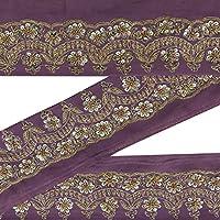 Vintage Cinta púrpura bordada india Border Sari de la vendimia de costura fino que se utiliza 1 Patios de encaje