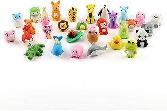 Cusfull 30er Pack Tiere Radiergummi Set Lustige und Süße Radierer für Bleistifte Kinder Kreatives Spielzeug Party - Zoo-Tiere Kollektion