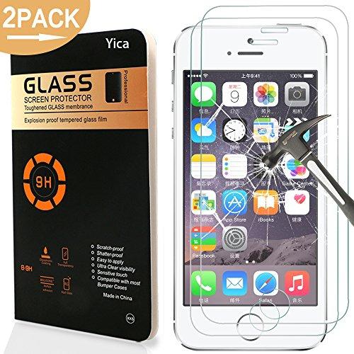 Preisvergleich Produktbild [2 Stück] iPhone SE/5C/5S/5 Panzerglas Glasfolie Glas Schutzfolie ,Yica 0.25 mm 9H Hartglas Glasfolie Displayschutzglas Display Folie Screen Protector für iPhone SE/5C/5S/5
