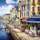 kanhaonio Sin Marco Estilo Marino Pintura en Tinta Pintura al óleo Escena callejera Europea Pintura sin Marco Mediterráneo 30 * 40 cm