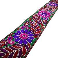 Verde de la tela bordada de ajuste de la decoración del arte de la cinta 9.1 cm de ancho por Sari The Yard