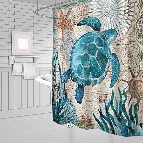 LYWWH Ocean Duschvorhang Wasserdicht Polyestergewebe Bad Vorhänge Maschine Waschbar Bad Duschvorhang Mit Haken,Turtle
