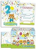 12 Einladungskarten zum 2. Kindergeburtstag für Jungen / Mädchen incl. 12 Umschläge / bunte Einladungen zum Geburtstag für Jungen/Mädchen