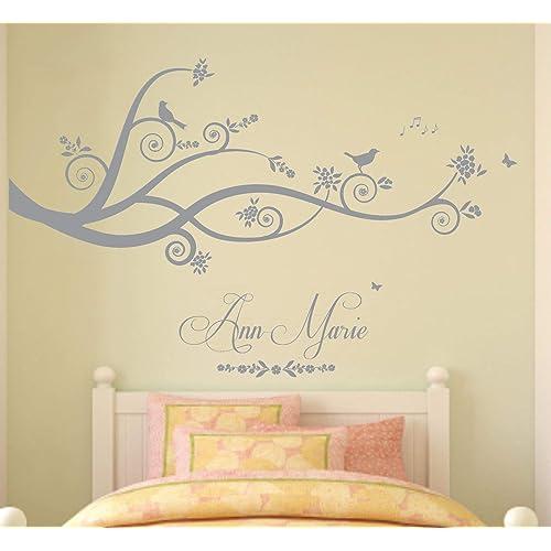 Nome personalizzato, Albero, Rami, Natura, Adesivo murale in vinile, Murale, Decalcomania. Casa, Decorazione della parete. Camera da letto. Asilo nido. QUALSIASI nome personalizzato