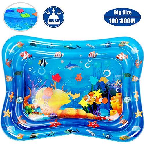 Wasserspielmatte, swonuk 100*80CM Groß Wassermatte Baby mit beweglichen Schwimmelementen von Spielzeug Das Wachstum von Kindern Stimulieren Aufblasbare und Wasserfüllung Wasserpark des Frühen Kindes
