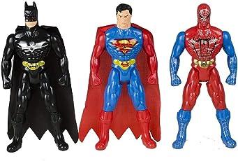 Generic Spiderman Superman Batman Super Hero Figures (Multicolour)- Pack of 3