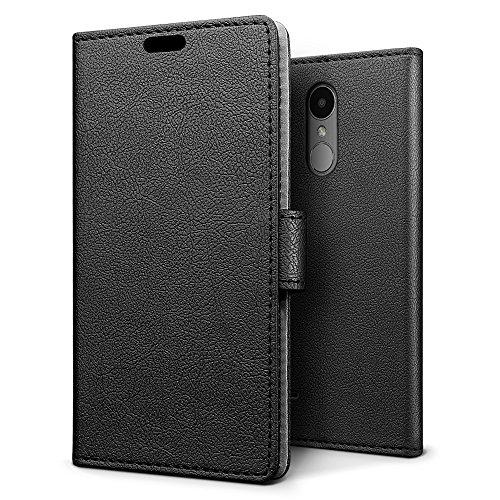 Sleo [premium portafoglio protettiva wallet cover per lg k4 2017, 2-scheda slot, [pu pelle] morbido impermeabile antipolvere protezione - nero
