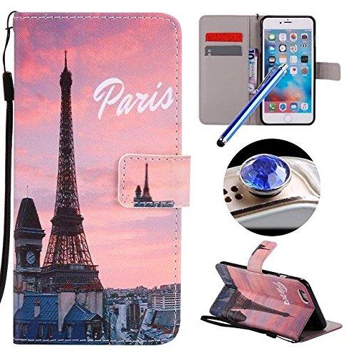 Etsue Custodia Per iPhone 6/6S 4.7 Flip in Pelle ,Lusso Style Colorate Dipinto Modello Portafoglio (Parallelo Unità)