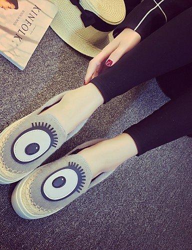 ShangYi Scarpe Donna - Ballerine / Mocassini - Ufficio e lavoro / Formale / Casual - Punta arrotondata - Piatto - Finta pelle - Nero / Grigio gray