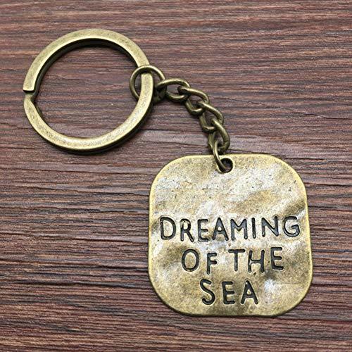 TAOZIAA Einseitiges Träumen vom Meer Keychain 30x30mm antike handgemachte Metallschlüsselanhänger-Andenken-Bronzegeschenke für Frauen -
