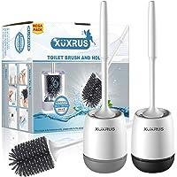 XUXRUS 2 pièces Brosse WC, Brosse de Toilette, Silicone balayette WC et Support de Toilette avec Soies De Silicone…
