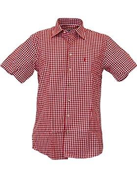 Almsach Kurzarm Trachtenhemd Daniel in rot und blau