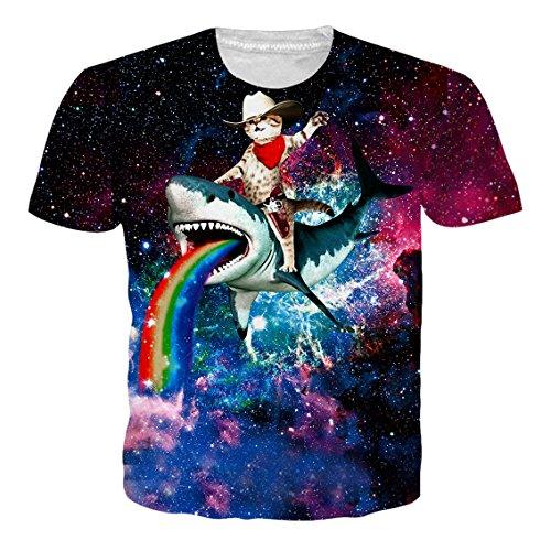 RAISEVERN Unisex 3D - Druck Lustige Herren Short Sleeve Shark Fahrt Katze Regenbogen - T-Shirts Mehrfarbig UK S-XXL