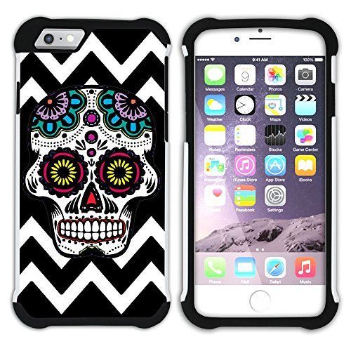 Graphic4You Mexikanische Zuckerschädel Tod Winkel Muster (Orange) Hart + Weiche Kratzfeste Hülle Case Schale Tasche Schutzhülle für Apple iPhone 6 Plus / 6S Plus Schwarz