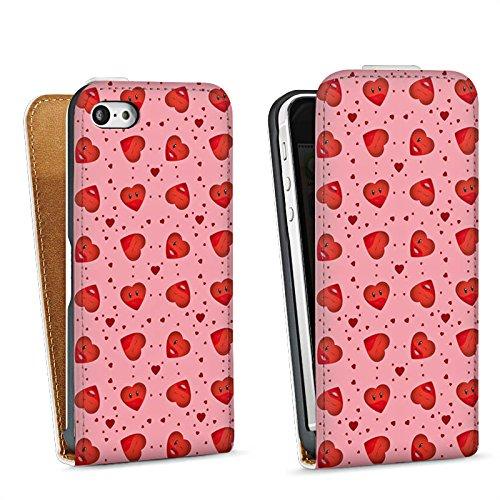Apple iPhone 4 Housse Étui Silicone Coque Protection Saint-Valentin Rose vif C½urs Sac Downflip blanc