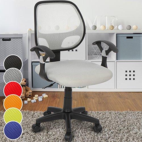 Infantastic Kinderdrehstuhl mit Netzrückenlehne Kinderschreibtischstuhl in modernem Design in 6 unterschiedlichen Farben erhältlich (Grau)
