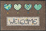 Wash&Dry 060147 Fußmatte Welcome Hearts 50 x 75 cm