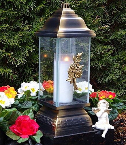 ♥ Grablampe Rose Ornament Bronze 34,0cm Grabkerze Grablicht Grablaterne Grabschmuck Grableuchte Laterne Kerze Lampe Licht