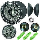 PPEEGOO YOYO Professionale,Alluminio Professionale Yo-Yo palle giocattolo,pro trick yoyo con cuscinetti a sfere,yoyo nero