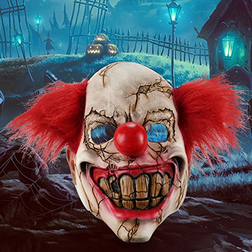 ysoutstripdu Maske Scary Clown Halloween-Kostüm EVIL Creepy Party Horror Prop (Maske Billige Clown)